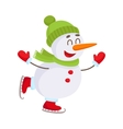 Cute and funny little snowman ice skating happily vector image vector image