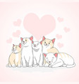 cute cat heart love vector image vector image