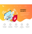 data protection landing page orange vector image