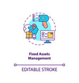 fixed assets management concept icon