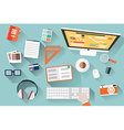 Flat design objects work desk long shadow office vector image