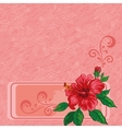 Floral background hibiscus and contours vector image