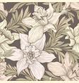 floral seamless pattern flower doodle background vector image vector image