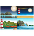 four scenes with lighthouse and ocean vector image vector image
