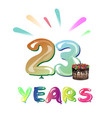 happy anniversary 23 years vector image vector image