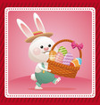 happy easter card bunny carrying egg celebration vector image vector image