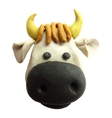 Icon of plasticine toy cow vector image vector image