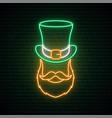 irishman neon sign irishman with a ginger beard vector image vector image
