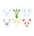 Isolated Wild animal heads vector image