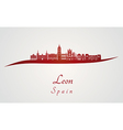 Leon skyline in red and gray background in vector image vector image