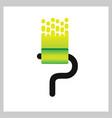 letter p roll brush paint logo vector image