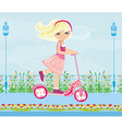 Little blonde girl riding a scooter vector image
