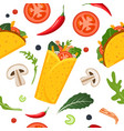 mexican food seamless pattern burrito taco hot vector image vector image