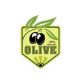 olive icon with black fruit for oil or food design vector image vector image