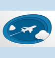 paper airplane is flying in sky with clouds vector image vector image