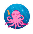 pink cartoon octopus octopus athlete vector image