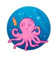 pink cartoon octopus octopus athlete vector image vector image
