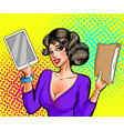 pop art beautiful woman with book and e vector image vector image