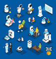 robots isometric set vector image vector image