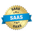 saas round isolated gold badge vector image vector image