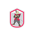 Samurai Warrior Arms Folded Shield Cartoon vector image vector image