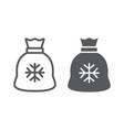 santa bag line and glyph icon christmas holiday vector image vector image