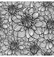 seamless floral pattern white and black vector image vector image