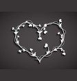 stylized white heart on dark background vector image vector image