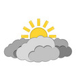 sun with cloud icon weather label for web on vector image