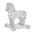 trojan horse coloring book vector image vector image