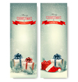Two retro holiday banners with gift boxes and vector image