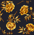 watercolor golden peony seamless pattern vector image vector image