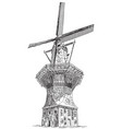 windmill de gooyer in amsterdam vector image vector image