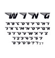 Winged font letters with wings flying alphabet