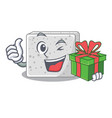 with gift feta cheese block on plate cartoon vector image vector image