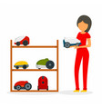 woman buy vacuum cleaner concept background flat vector image