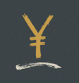 yen sign icon brush lettering grunge calligraphic vector image