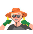 young happy woman in hat sunglasses and green vector image