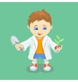Boy doing biological experiments Young scientist vector image
