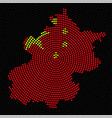 abstract map beijing radial dots with flag vector image