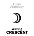 astrology waxing crescent moon vector image