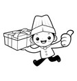 black and white funny chef mascot delivery is vector image vector image