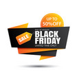 black friday sale and yellow banner vector image vector image