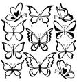 Butterflies black contours vector image