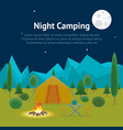 cartoon camping night view card poster vector image