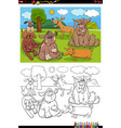 cartoon funny dogs and puppies group coloring vector image vector image