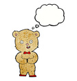 cartoon teddy bear with thought bubble vector image vector image