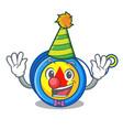 clown yoyo mascot cartoon style vector image