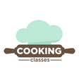 cooking classes isolated icon rolling pin and chef vector image