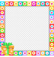 cute vibrant hearts border with bright orange vector image vector image